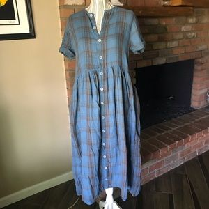 Free People CP Shades Lou Lou Blue Plaid Dress XS